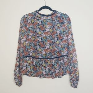 NWT Loveriche Navy Floral blouse